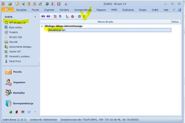 """8690f69ec778b5 Przejdź do opcji Sz@rk/API skrypty C# i wykonaj projekt """"Aktualizacja cen"""""""