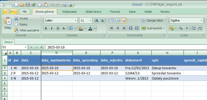 Dokument Wewnętrzny KPiR, nota wewnętrzna opracowana w Arkuszu Kalkulacyjnym