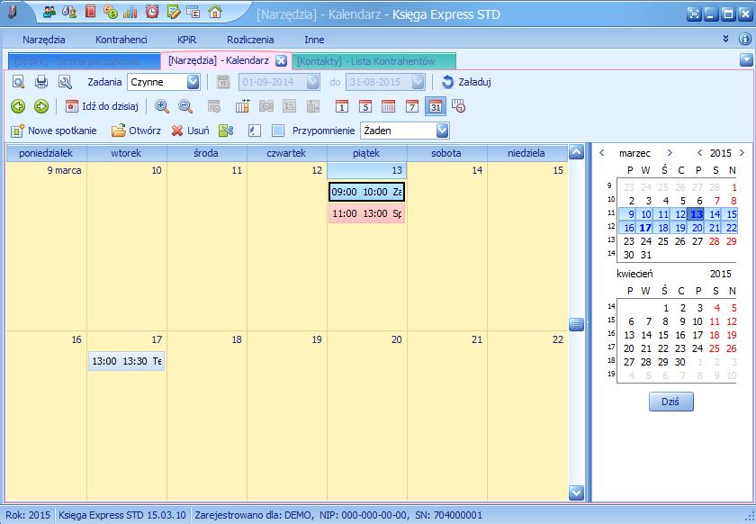miesięczny widok kalendarza