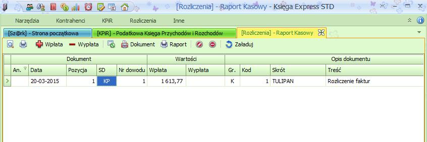 KPiR raport kasowy
