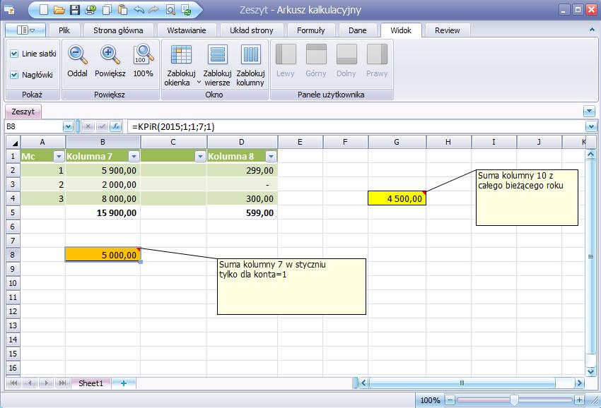funkcja KPiR do obliczeń w arkuszu kalkulacyjnym
