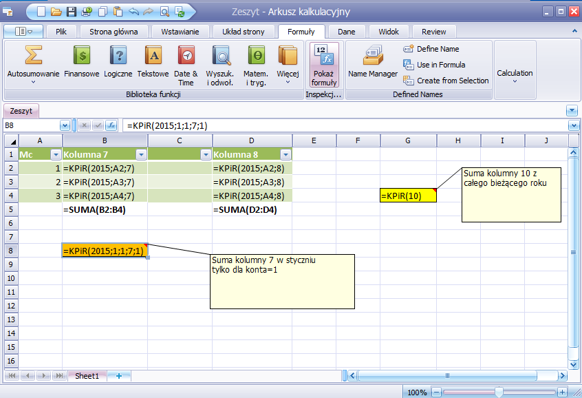 Funkcje KPiR do arkusza kalkulacyjnego