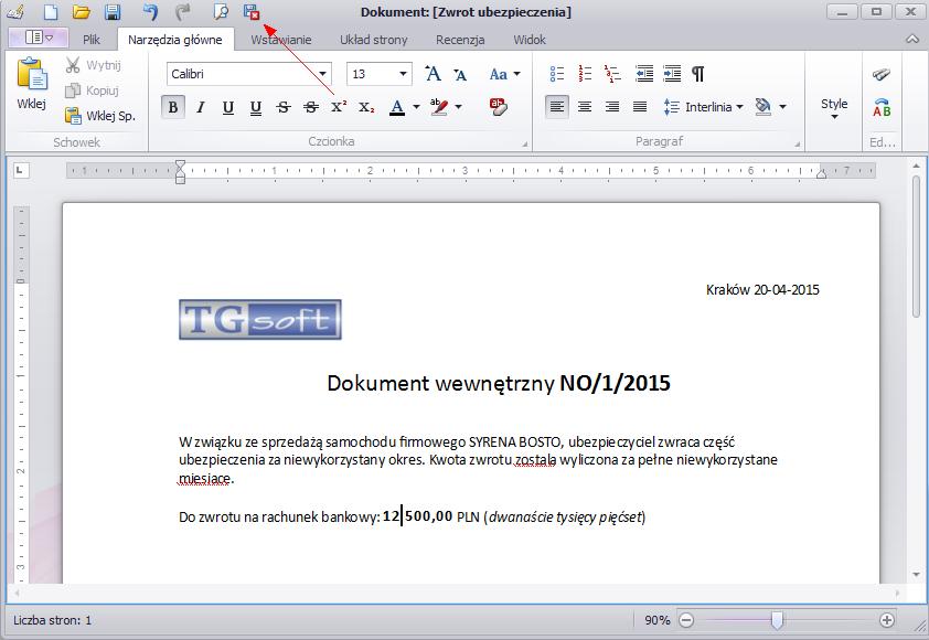 Dokument Wewnętrzny KPiR, nota wewnętrzna opracowana w edytorze tekstów