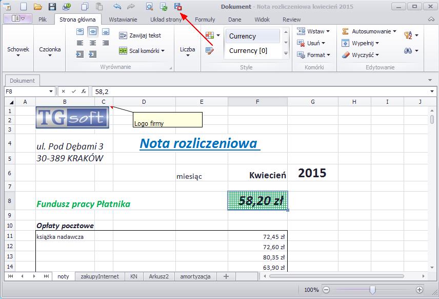nota księgowa KPiR w arkuszu kalkulacyjnym