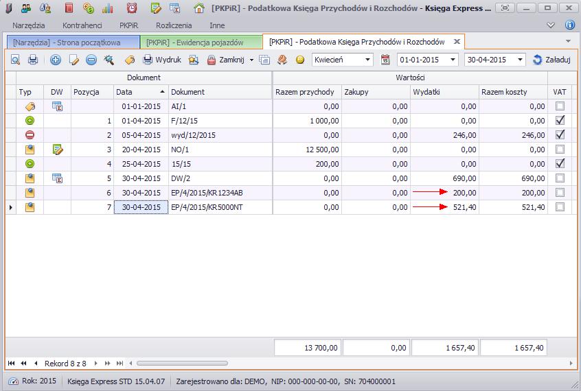Widok zapisów KPiR