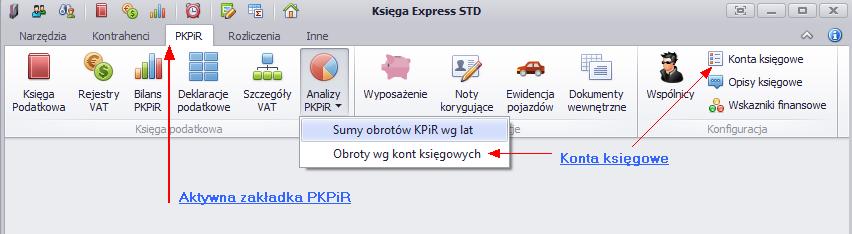 Wykaz opcji Księgi Podatkowej z zakładki KPiR