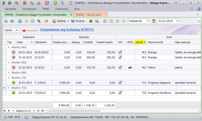 przedstawia widok KPiR z włączonym grupowaniem zapisów wg kolumny Konto