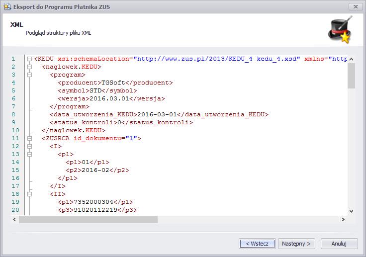 Podgląd KEDU XML