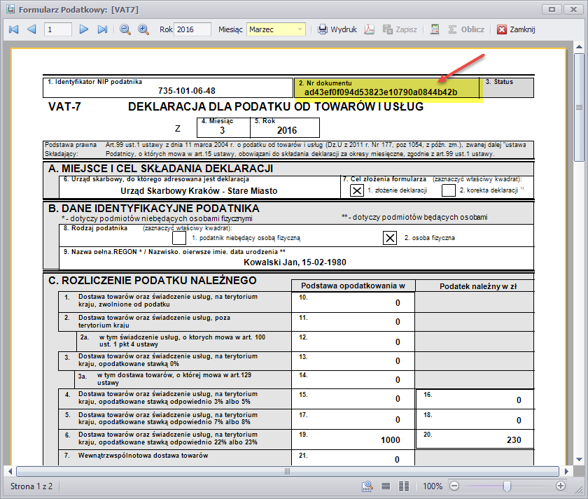 Wydruk deklaracji VAT7 zawiera Numer Referencyjny e-Deklaracji