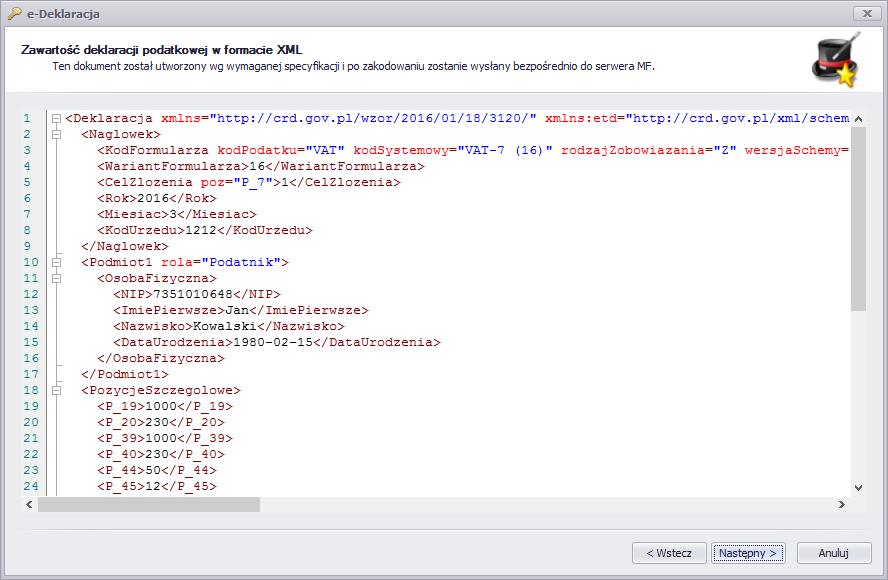 dokument w formacie XML e-Deklaracji